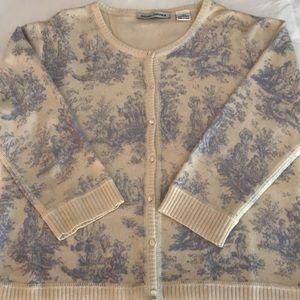 Autumn Cashmere Blue/Cream Toile Sweater Sz L